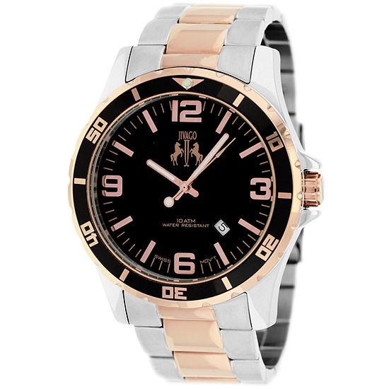 Jivago Mens Two Tone Stainless Steel Bracelet Watch-Jv6118