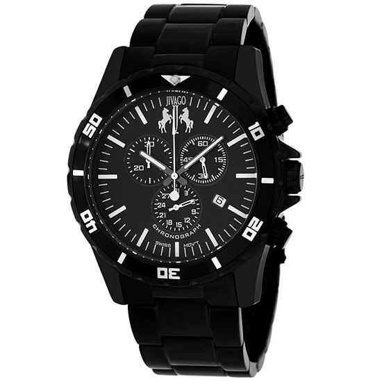 Jivago Mens Black Stainless Steel Bracelet Watch-Jv6120