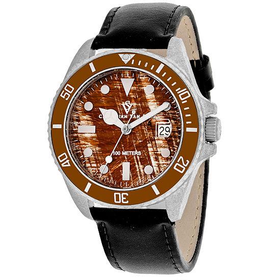 Christian Van Sant Mens Black Leather Strap Watch-Cv5101lb