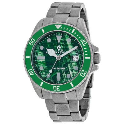 Christian Van Sant Mens Silver Tone Bracelet Watch-Cv5102b