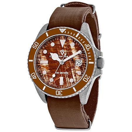 Christian Van Sant Mens Brown Leather Strap Watch Cv5201b, One Size