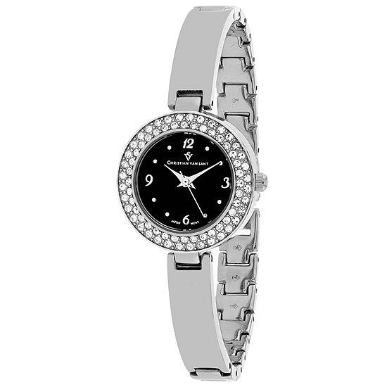 Christian Van Sant Womens Silver Tone Stainless Steel Bracelet Watch-Cv8612