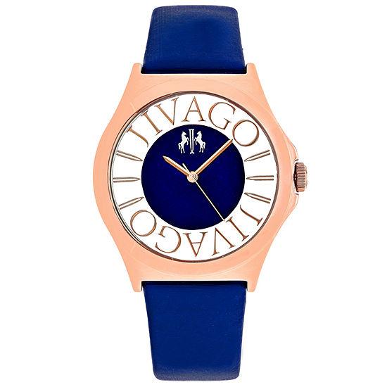 Jivago Womens Blue Leather Strap Watch-Jv8435