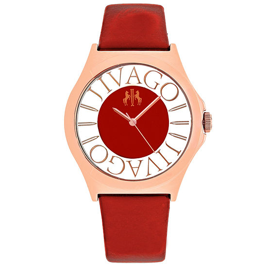 Jivago Womens Red Leather Strap Watch-Jv8436