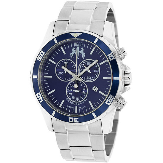 Jivago Mens Silver Tone Stainless Steel Bracelet Watch-Jv6127