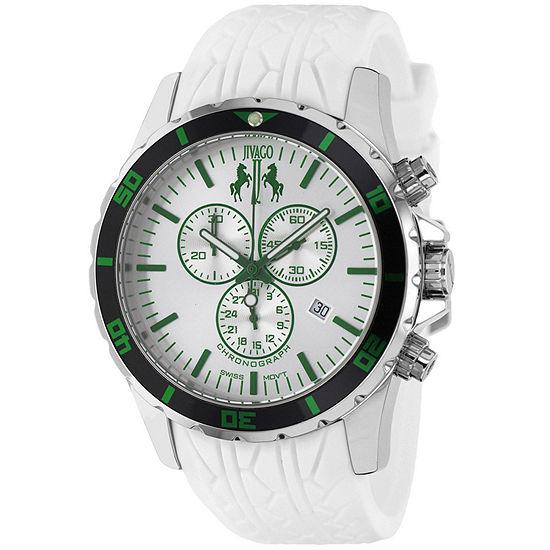 Jivago Mens White Leather Strap Watch-Jv0126