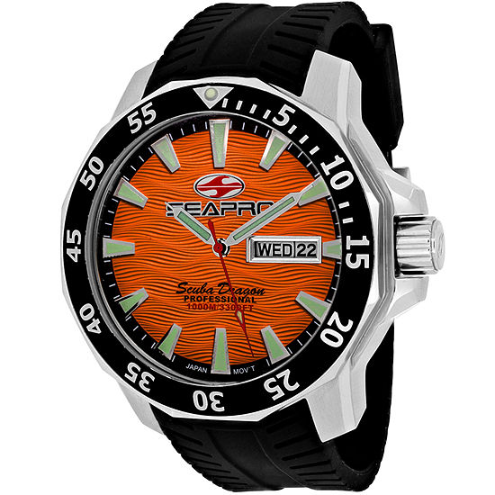 Sea-Pro Scuba Diver Limited Edition Mens Black Strap Watch-Sp8314