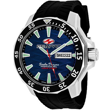 Sea-Pro Scuba Diver Limited Edition Mens Black Leather Strap Watch Sp8316, One Size