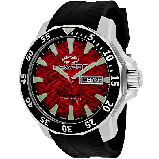 Sea-Pro Diver Limited Edition Mens Black Leather Strap Watch-Sp8317