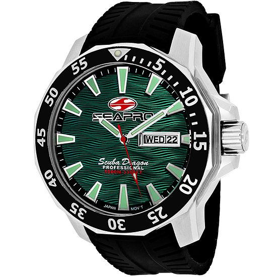 Sea-Pro Scuba Diver Limited Edition Mens Black Leather Strap Watch-Sp8318