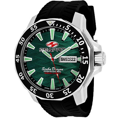 Sea-Pro Scuba Diver Limited Edition Mens Black Leather Strap Watch-Sp8318. One Size