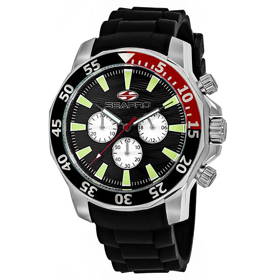 Sea-Pro Scuba Explorer Mens Black Leather Strap Watch-Sp8332