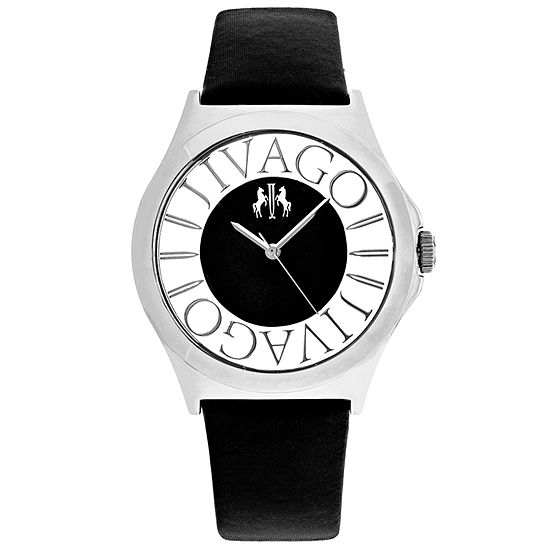 Jivago Womens Black Leather Strap Watch-Jv8430
