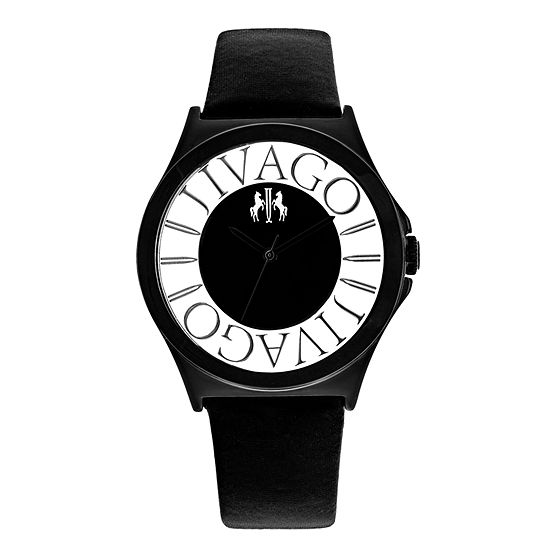 Jivago Womens Black Leather Strap Watch-Jv8432