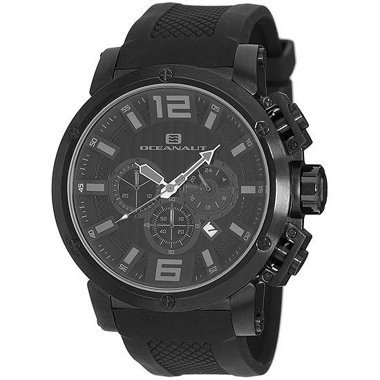 Oceanaut Mens Black Leather Strap Watch-Oc2122