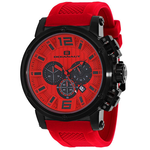 Oceanaut Mens Red Strap Watch-Oc2142