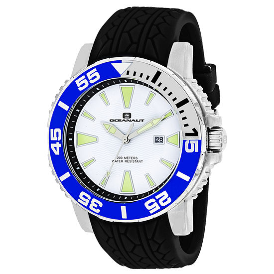 Oceanaut Mens Black Leather Strap Watch Oc2917
