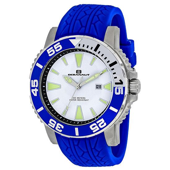 Oceanaut Mens Blue Leather Strap Watch-Oc2919