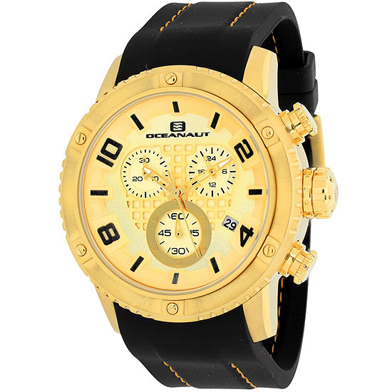 Oceanaut Mens Black Leather Strap Watch-Oc3123r