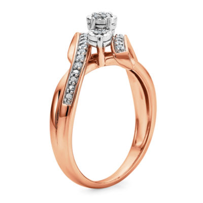 Womens 1/7 CT. T.W. Genuine White Diamond 14K Rose Gold Over Silver Cocktail Ring