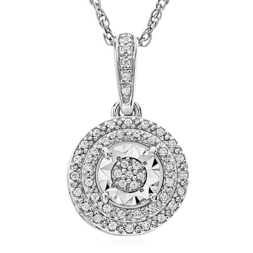 Limited Time Special 1/10 CT. T.W. White Diamond Sterling Silver Pendant Necklace