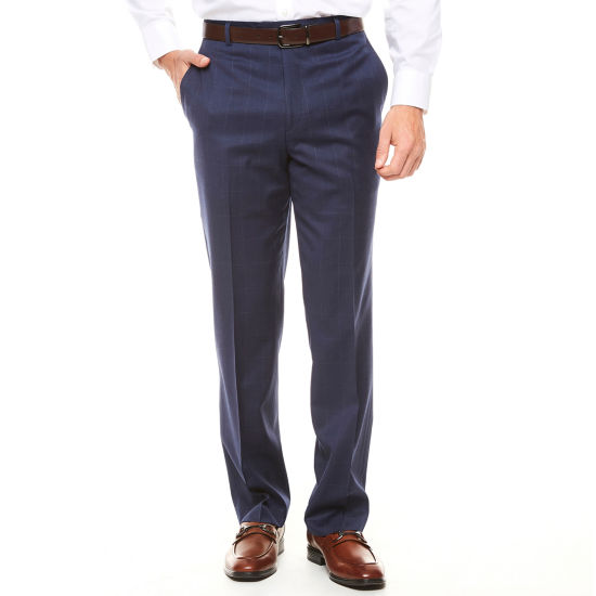 Stafford Navy Windowpane Classic Fit Suit Pants