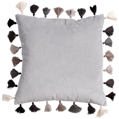 Scribble Velvet Throw Pillow With Tassels- Grey