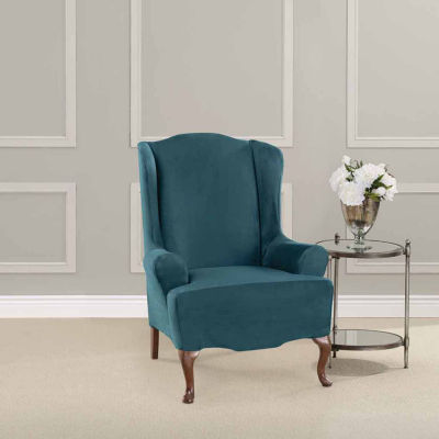 SURE FIT® Ultimate Heavyweight Stretch Suede Wing Chair Slipcover