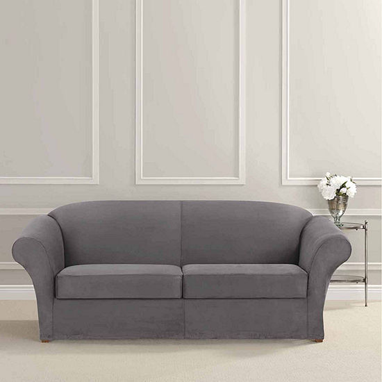 Sure Fit Ultimate Heavyweight Stretch Suede Sofa Individual 2 Cushion Slipcover
