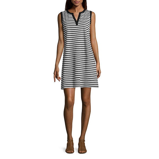 Liz Claiborne Sleeveless Striped A Line Dress
