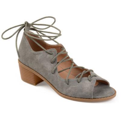 Journee Collection Bowee Womens Pumps Zip Peep Toe Block Heel