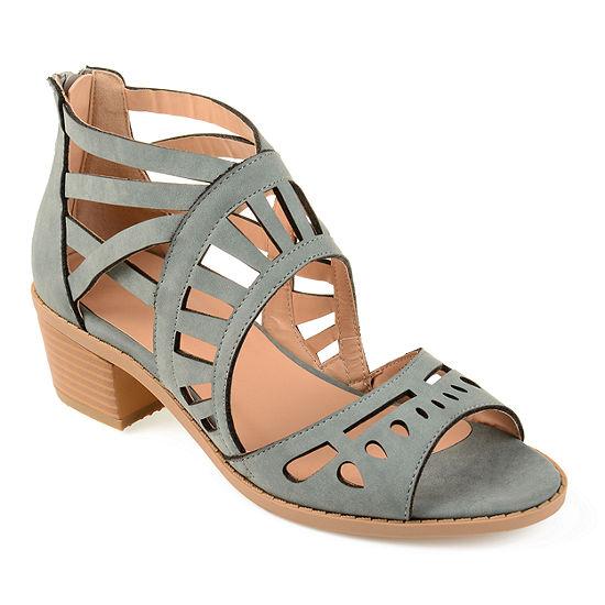 Journee Collection Womens Dexy Pumps Open Toe Block Heel