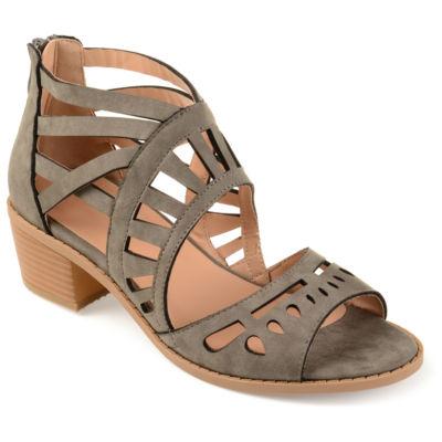 Journee Collection Womens Dexy Pumps Zip Open Toe Block Heel