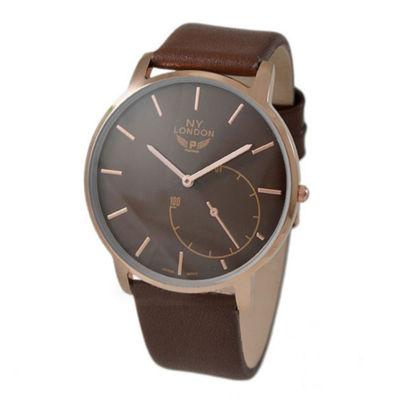 Ny London Mens Brown Strap Watch-10020