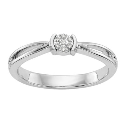 Promise My Love Womens Diamond Accent Round White Diamond 14K Gold Promise Ring