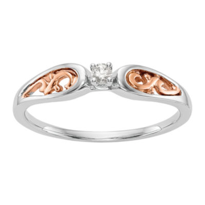 Promise My Love Womens Diamond Accent Genuine White Diamond 14K Two Tone Gold Round Promise Ring