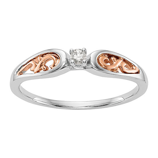 Promise My Love Womens Diamond Accent Genuine White Diamond 14K Two Tone Gold Round Ring