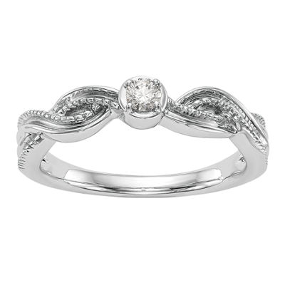 Promise My Love Womens Diamond Accent Genuine White Diamond 14K White Gold Round Promise Ring