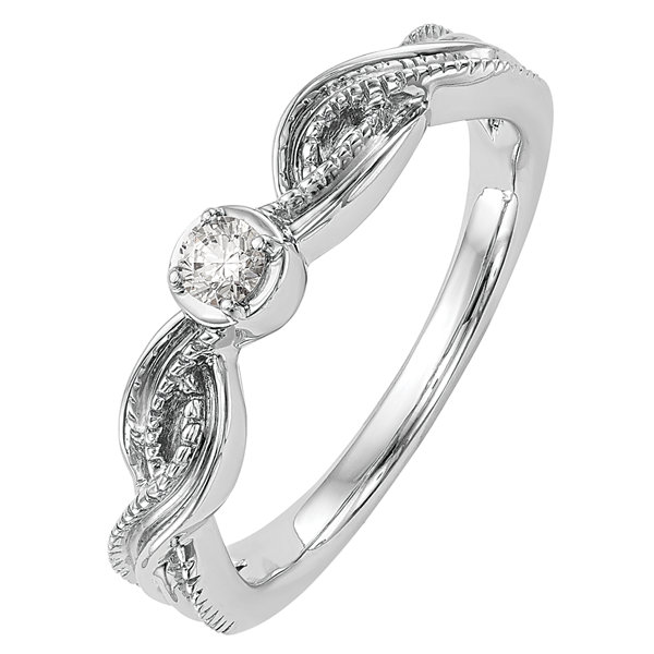 Promise My Love Womens Diamond Accent Genuine Round White Diamond 14K Gold Promise Ring