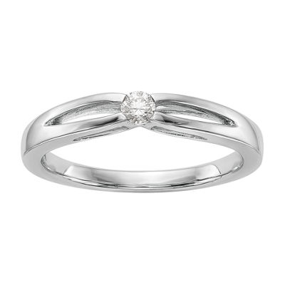 Promise My Love Womens 1/10 CT. T.W. Genuine White Diamond 14K White Gold Round Promise Ring