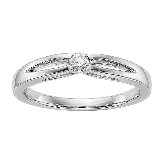 Promise My Love Womens 1/10 CT. T.W. Genuine White Diamond 14K White Gold Round Ring