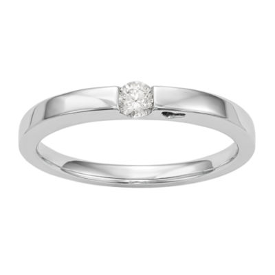 Promise My Love Womens Diamond Accent Genuine White Diamond 14K White Gold Round Promise Ring