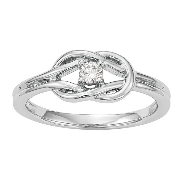 Promise My Love Womens 1/8 CT. T.W. Genuine Round White Diamond 14K Gold Promise Ring