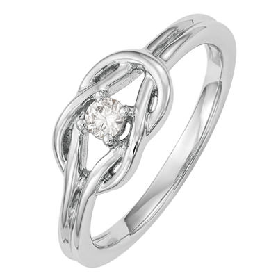 Promise My Love Womens 1/8 CT. T.W. Genuine White Diamond 14K White Gold Round Promise Ring