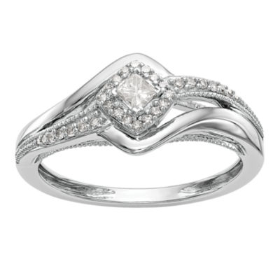 Promise My Love Womens 1/5 CT. T.W. Genuine White Diamond 14K White Gold Round Promise Ring