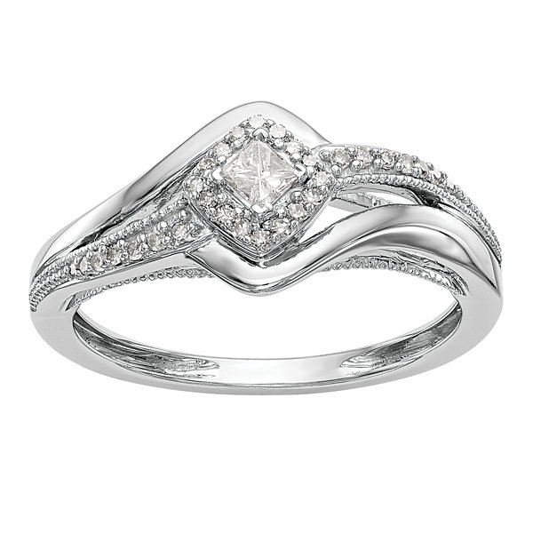 Promise My Love Womens 1/5 CT. T.W. Genuine Multi-Shape White Diamond 14K Gold Promise Ring