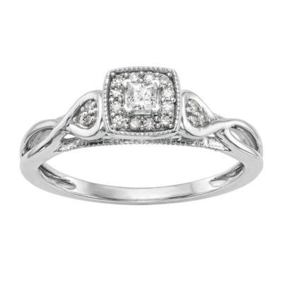 Promise My Love Womens 1/5 CT. T.W. Multi-Shape White Diamond 14K Gold Promise Ring