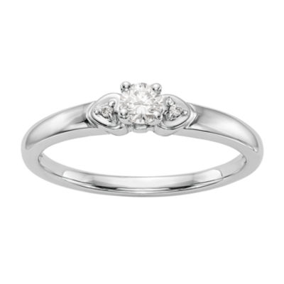 Promise My Love Womens 1/6 CT. T.W. Genuine White Diamond 14K White Gold Round Promise Ring