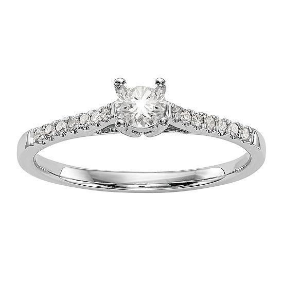 Promise My Love Womens 1/5 CT. T.W. Genuine White Diamond 14K White Gold Round Promise Ring