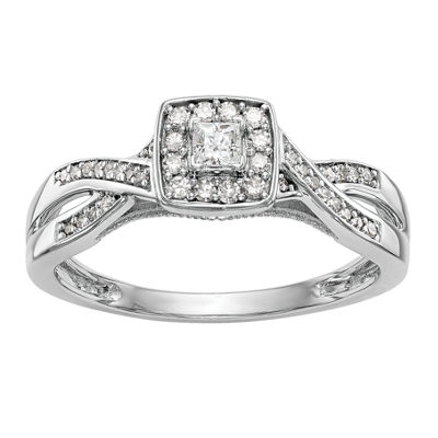 Promise My Love Womens 1/3 CT. T.W. Genuine White Diamond 14K White Gold Round Promise Ring